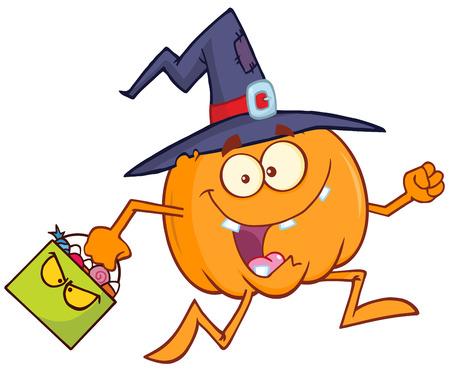 witch: Divertido bruja calabaza de dibujos animados que se ejecuta con un caramelo de Halloween Basket