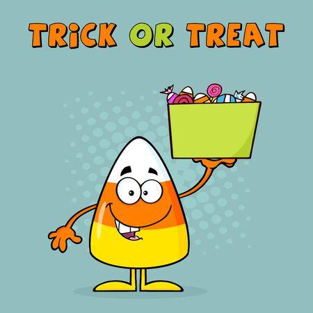 elote caricatura: Sonre�r pastillas de caramelo de personaje de dibujos animados sostiene un rect�ngulo con el caramelo