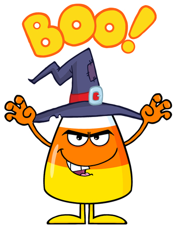 candy corn: Scaring Halloween Candy Corn With A Witch Hat And Text Stock Photo