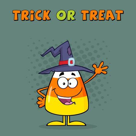 corn cartoon: Caramelo personaje de dibujos animados de ma�z con un sombrero de la bruja que agita. Tarjeta de felicitaci�n Foto de archivo