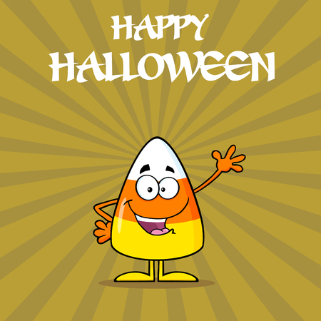 candy corn: Candy Corn Cartoon Character Waving. Illustration With Background And Text