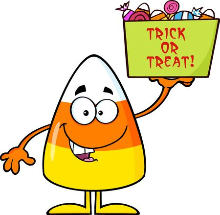caramel candy: Smiling Candy Corn Cartoon Character Holds A Box With Candy And Text Stock Photo