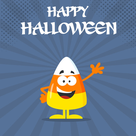 Funny Candy Corn Flat Design Waving. Illustration With Bacground And Text