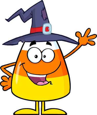candy corn: Happy Candy Corn Cartoon Character With A Witch Hat Waving