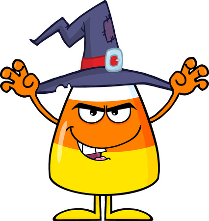 scaring: Scaring Halloween Candy Corn With A Witch Hat. Illustration Isolated On White Stock Photo