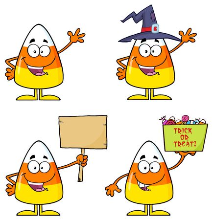 candy corn: Candy Corn Cartoon Character 2. Collection Set