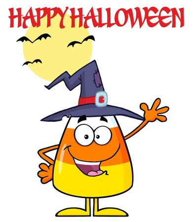 candy corn: Smiling Candy Corn Cartoon Character With A Witch Hat Waving