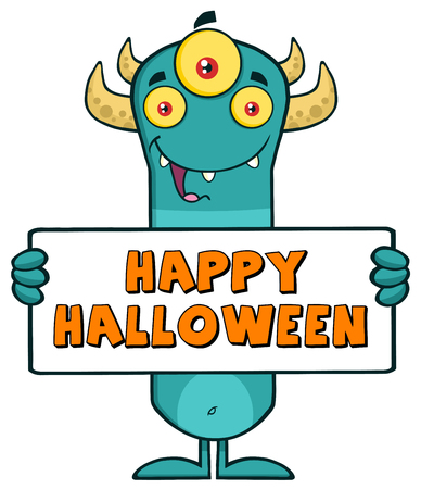 scary story: Happy Horned Blue Monster Character Holding Happy Halloween Sign Stock Photo