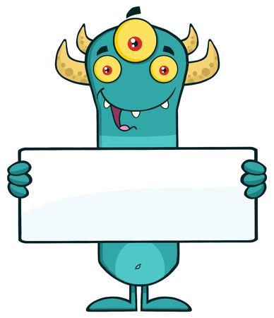 horned: Funny Horned Blue Monster Character Holding A Blank Sign