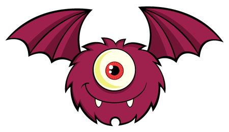 spooky eyes: Cute One Eyed Monster Character Flying With Text Stock Photo