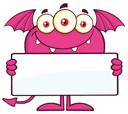 freak: Smiling Pink Monster Character Holding A Blank Sign Stock Photo