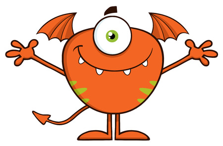 goblin: Smiling Cute Monster Character With Welcoming Open Arms Stock Photo