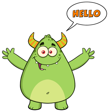 Happy Horned Green Monster Character With Welcoming Open Arms And Speech Bubble Hello Text
