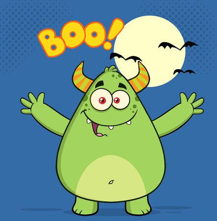 boo: Happy Horned Green Monster Character With Welcoming Open Arms And Boo Text Stock Photo