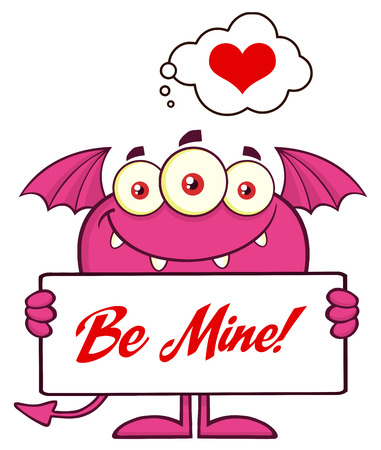 Pink Monster Cartoon Character Holding A Be Mine Sign
