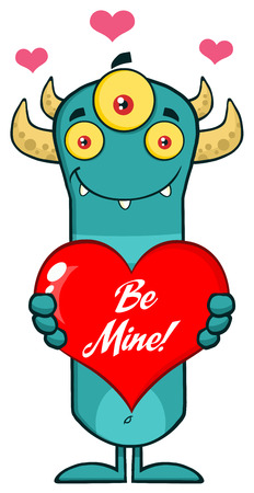 scary story: Horned Blue Monster Character Holding A Be Mine Valentine Love Heart