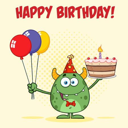 gateau anniversaire: Green Monster tenant un Colorful ballons et gâteau d'anniversaire Banque d'images