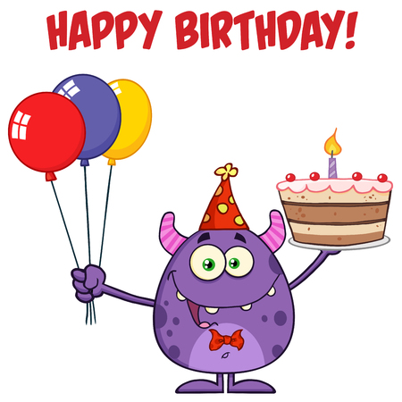 auguri di compleanno: Carino mostro che sostiene un palloncini colorati e torta di compleanno