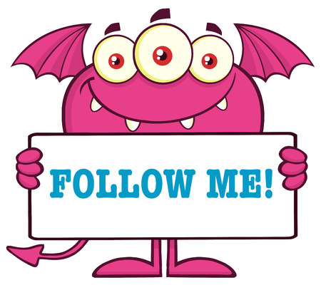 follow me: Pink Monster Cartoon Character Holding A Follow Me Sign