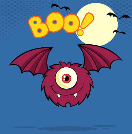 furry: Furry One Eyed Monster Cartoon Character Flying With Text Stock Photo