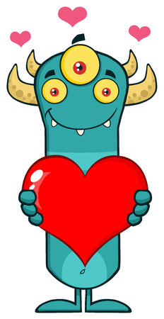 Smiling Horned Blue Monster Cartoon Character Holding A Love Heart