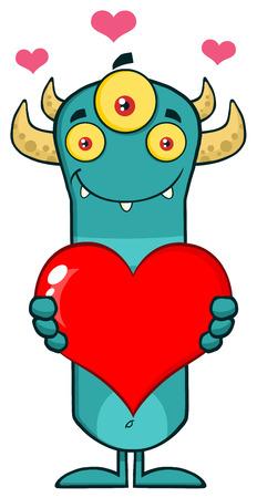horned: Smiling Horned Blue Monster Cartoon Character Holding A Love Heart