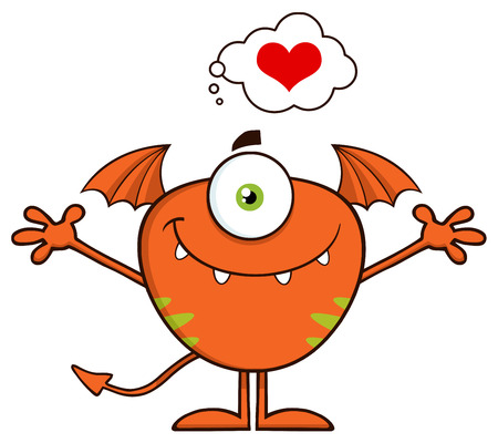 scary story: Cute Monster Cartoon Character With A Heart And Open Arms