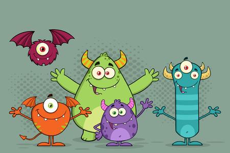 divertido: Monstruos divertidos personajes de dibujos animados. Ilustración con el fondo