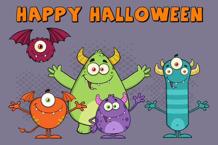 cute alien: Monsters Cartoon Characters. Illustration Greeting Card
