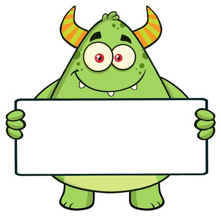 goblin: Smiling Horned Green Monster Character Holding A Blank Sign