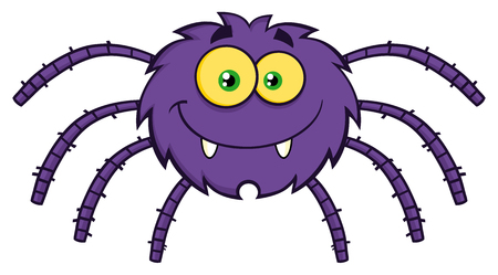 Funny Spider Cartoon Character. Illustration Isolated On White
