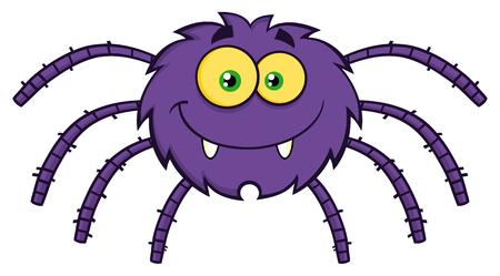 Grappige Karakter Spider Cartoon. Illustratie die op Wit Stockfoto