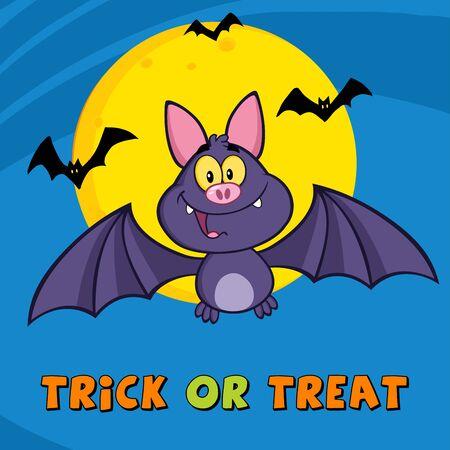 vampire bat: Vampire Bat Cartoon Character Flying. Illustration Greeting Card