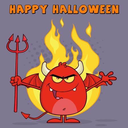 pitchfork: Evil Red Devil Character Holding A Pitchfork Over Flames