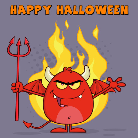 diabolical: Evil Red Devil Character Holding A Pitchfork Over Flames