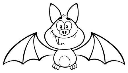 flaying: Black And White Happy Vampire Bat Character Flying Stock Photo