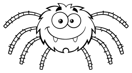 spider cartoon: Black And White Funny Spider Cartoon Character