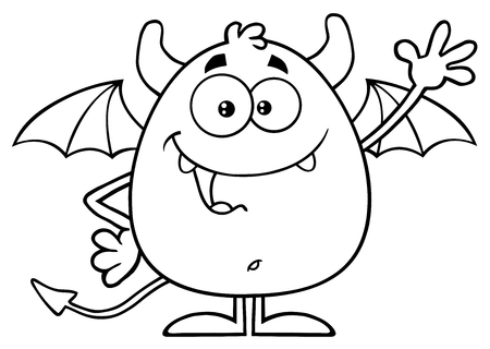 diabolical: Black And White Happy Red Devil Character Waving
