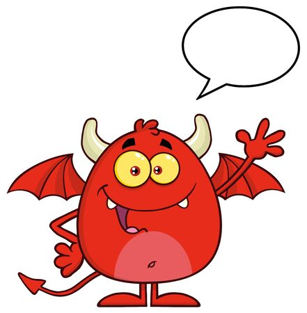 diabolical: Smiling Red Devil Character Waving With Speech Bubble
