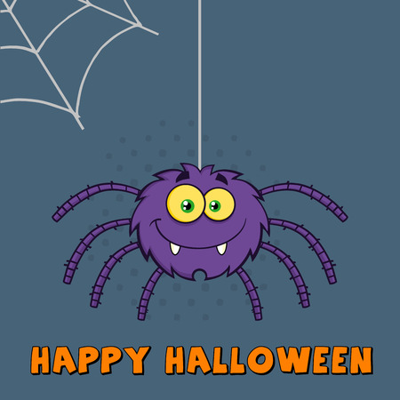 crawly: Funny Purple Halloween Spider Character On A Web With Text
