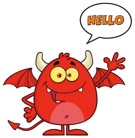 diabolical: Funny Red Devil Character Waving And Saying Hello Stock Photo