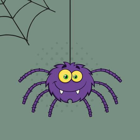 halloween spider: Smiling Purple Halloween Spider Cartoon Character On A Web