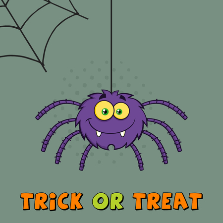 Purple Halloween Spider Cartoon Character On A Web With Text. Illustration Greeting Card