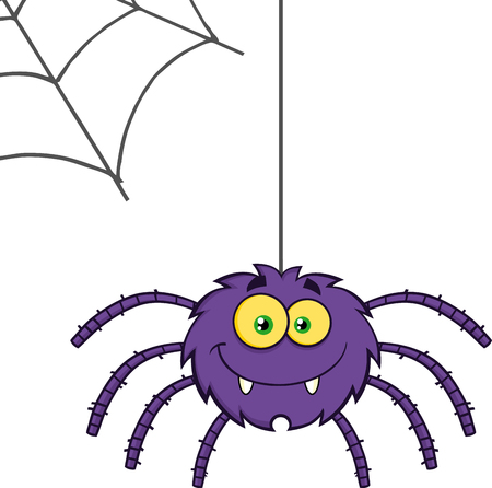 spider web icon: Purple Halloween Spider Cartoon Character On A Web