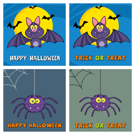 flaying: Four Halloween Greeting Cards. Collection Set