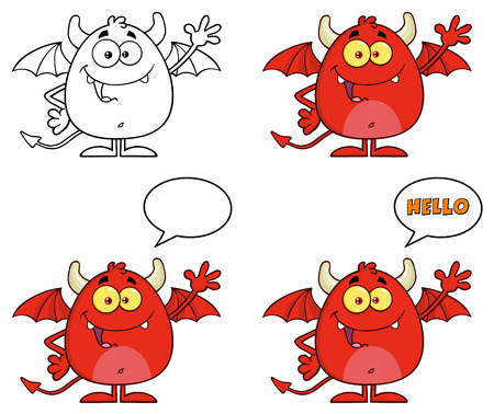 Funny Red Devil Cartoon Character Waving And Saying Hello. Collection Set Stock Photo