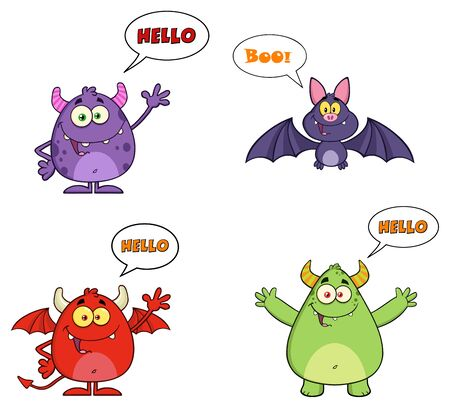 tails: Five Halloween Characters With Speech Bubbles And Text. Collection Set