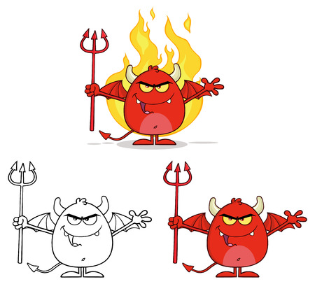 infernal: Angry Red Devil Cartoon Character Holding A Pitchfork Over Flames. Collection Set