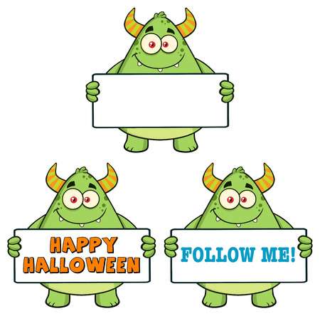 holding sign: Smiling Horned Green Monster Cartoon Character Holding Sign. Collection Set Stock Photo