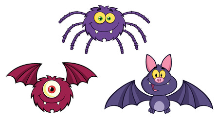 flaying: Three Halloween Cartoon Characters. Collection Set Stock Photo